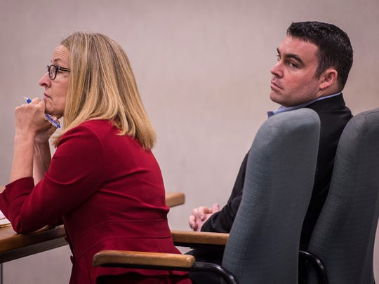Former Burlington cop Christopher Lopez appears in Vermont Superior Court on Thursday, Sept. 7, 2017, for his arraignment hearing. Lopez, 27, of Bolton pleaded not guilty to a charge of giving false information to a police officer.