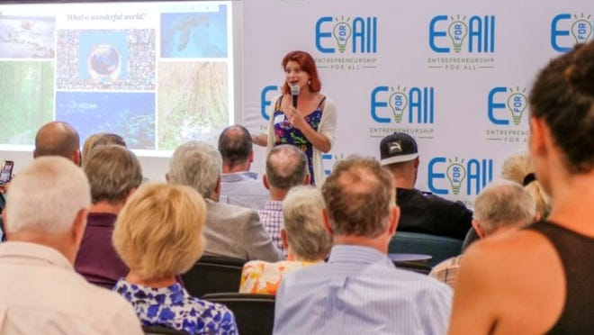 Jessica Georges, founder of Green Road Refill, speaks during a pitch contest hosted by the nonprofit EforAll in 2018. EforAll is one of six nonprofits on the Cape that recently received grant funding from Falmouth Road Race Inc.