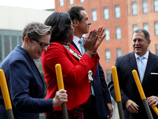 Rochester Mayor Lovely Warren joined New York Gov. Andrew Cuomo Wednesday for a ceremonial groundbreaking on improvements to the Joseph A. Floreano Rochester Riverside Convention Center.