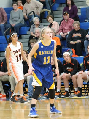 Madeira sophomore Marin Kline defends against West Liberty Salem in the district final Feb. 27.
