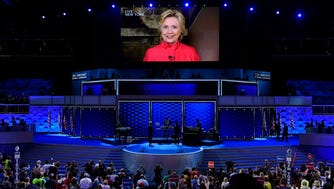 Hillary Clinton appears via video link during the 2016 Democratic National Convention.