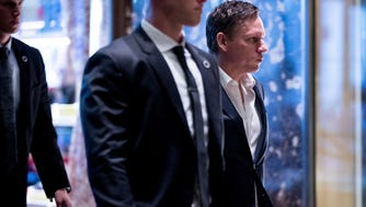 Peter Thiel, who is advising the Trump transition team, arrives at Trump Tower.