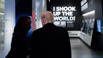 President Donald Trump tours the National Museum of African American History and Culture on Tuesday.