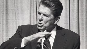 Ronald Reagan speaks to a crowd at Paterson City Hall in this 1980 file photo.