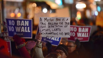 In this Jan. 30, file photo, a rally in Jersey City against President Trump's refugee and Muslim ban.