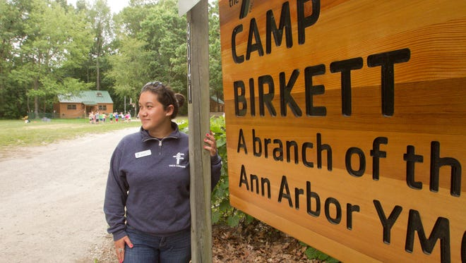 Camp Birkett director Alison Lum looks from the entrance of the YMCA day camp in the direction of the construction area for the ET Rover pipeline Monday, July 24, 2017.
