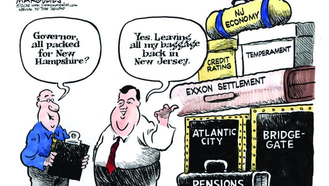 New Jersey-based editorial cartoonist Jimmy Margulies often skewers Gov. Chris Christie. In the first three weeks of April, his targets have also included Sen. Robert Menendez, the Transportation Trust Fund and flood insurance rates.
