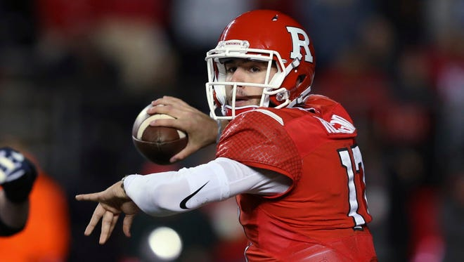 Rutgers quarterback Giovanni Rescigno (17) throws a pass during the first half of an NCAA college football game against Penn State on Saturday, Nov. 19, 2016, in Piscataway, N.J. (AP Photo/Mel Evans)