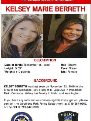This missing person poster provided by the Woodland Park Police Department shows Kelsey Berreth.