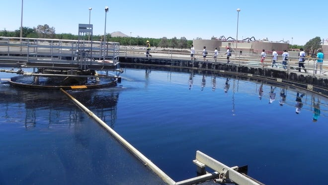 The primary clarifier at the Jacob A. Hands Wastewater Treatment Facility operated by LCU is part of the process that cleans 3.3 billion gallons of wastewater every year.