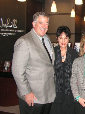 Pat Emery, left, Kitty Moon Emery at Easter Seals Tennessee Hall of Honor Reception held at Nashville Area Chamber of Commerce.