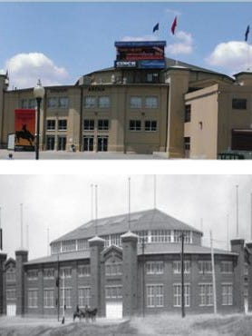 The National Western Stock Show Complex today (above) and circa 1909 (below).