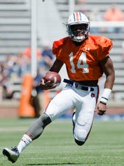Auburn quarterback Malik Willis (14) runs downfield during Auburn's A-Day on Saturday, April 8, 2017, at Jordan Hare Stadium in Auburn, Ala.