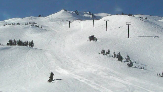 A view of Mount Bachelor's snow-covered upper mountain.