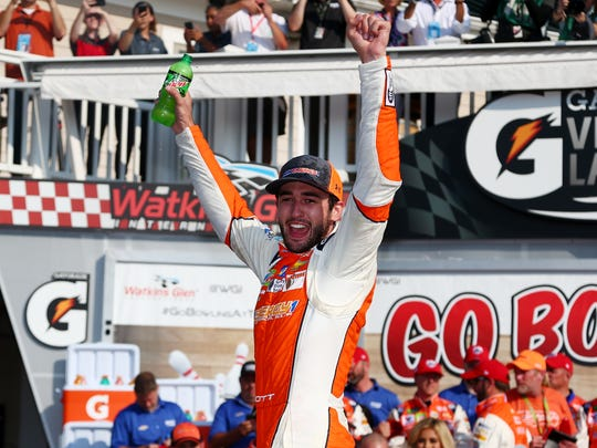 Chase Elliott celebrates in Victory Lane after winning the Monster Energy NASCAR Cup Series Go Bowling at The Glen at Watkins Glen International on August 5, 2018 in Watkins Glen, New York.