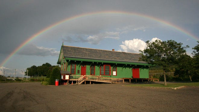 A rainbow over the Vestal Museum.