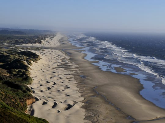 An idyllic view of the Oregon Dunes, which stretch approximately 40 miles from Florence to Coos Bay.