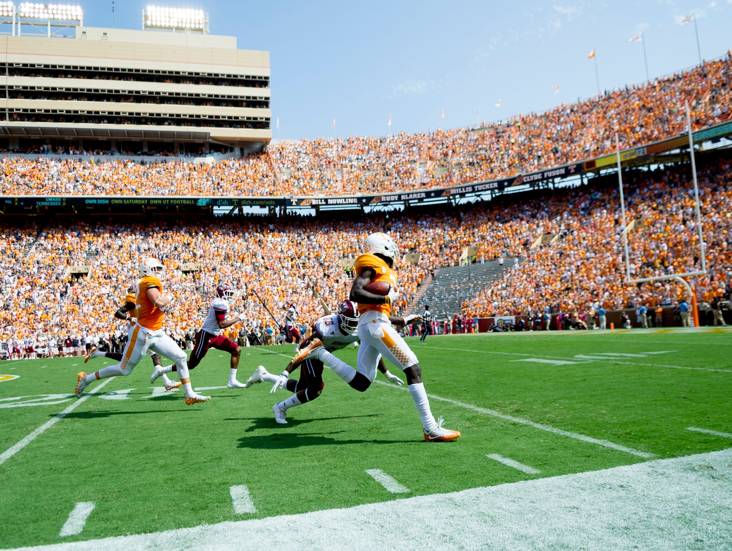 Tennessee wide receiver Brandon Johnson (7) runs the ball during the Tennessee Volunteers vs. UMass Minutemen game at Neyland Stadium in Knoxville, Tennessee on Saturday, September 23, 2017.