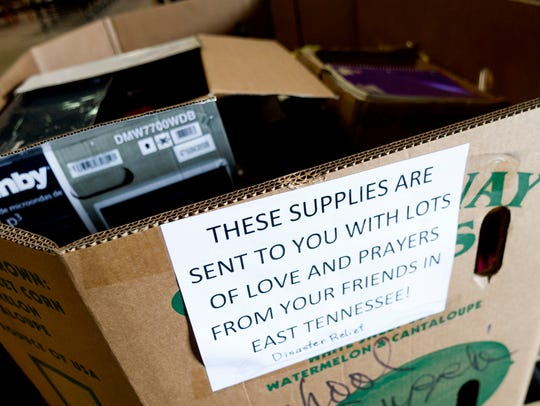 A crate of supplies steadily fills up at God's Warehouse,
