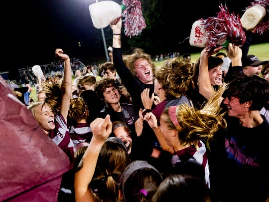 Bearden students celebrate after the win during a sectionals final game between Bearden and Farragut high schools at Farragut High School in Farragut, Tennessee on Saturday, October 21, 2017.
