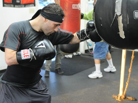 Ruben Avila trains in Salinas Boxing Club in preparation for the Salinas Golden Gloves on Feb. 24.