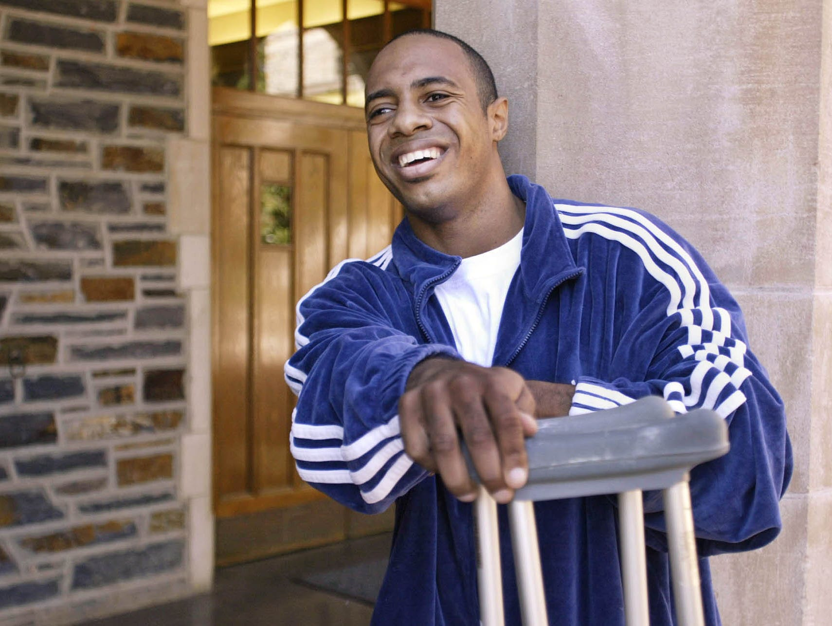 Jay Williams, Chicago Bulls basketball player and former Duke All-American, poses outside Duke's Cameron Indoor Stadium, Monday, Sept. 29, 2003, in Durham, N.C., before an interview. Williams was hurt earlier this year in a motorcycle accident.