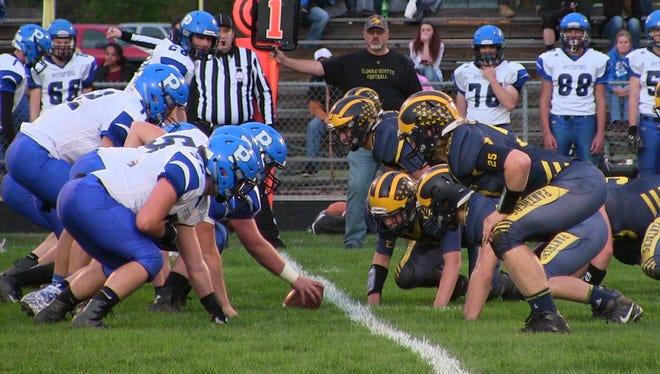 Pittsford lines up as the Climax-Scotts defense gets ready for the play on Friday.