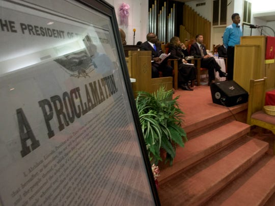 Jahrod Jackson, Jr., reads the Emancipation Proclamation at Bryant Missionary Baptist Church in Montgomery, Ala. on Sunday January 1, 2017.