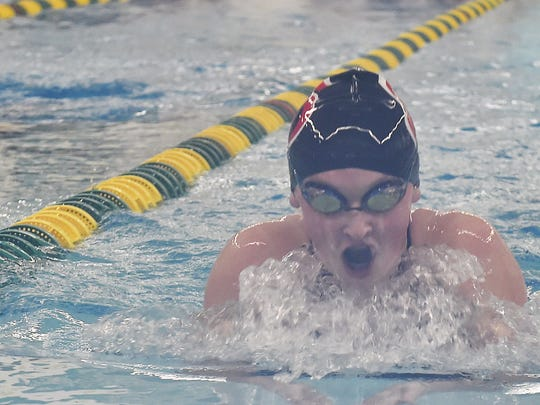 Abi Schauske of the Sturgeon Bay co-op team swims the breaststroke in the 200-yard individual medley at the WIAA Division 2 Ashwaubenon Sectional on Saturday.
