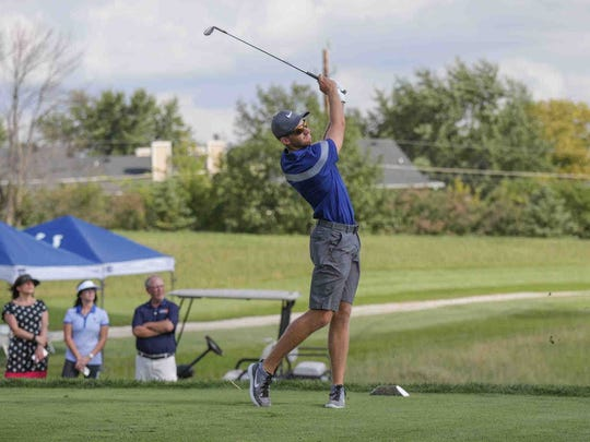 PGA Pro Golfer Patrick Rodgers tees off on the first hole during the Pete and Alice Dye Championship 2016, a three-hole golf tournament benefitting  Autism Speaks and The First Tee of Indiana, at the Indiana Farm Bureau Football Center, Tuesday September 6th, 2016.