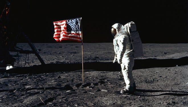 This July 20, 1969, file photo shows astronaut Edwin E. Aldrin Jr. as he poses for a photograph on the lunar surface area called the Sea of Tranquility.