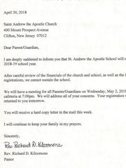 The email sent Monday to parents of students at St.