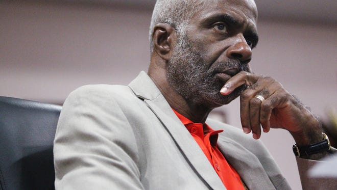 Larry Robinson listens to discussion at a meeting of Florida A&M University's Board of Trustees in this file photo, Robinson was named interim president of FAMU on Thursday.