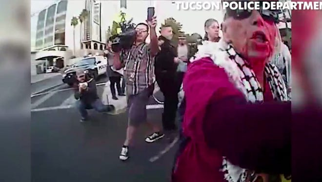 Police body-cam footage from an immigration protest in Tucson on Feb. 16, 2017.