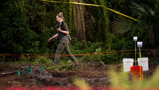St. Lucie County Sheriff's Office personnel work at the scene where human remains were reportedly found by a construction crew Wednesday, July 11, 2018, near Kitterman Road west of U.S. 1 in St. Lucie County. Hank Richard, senior superintendent with Welsh Construction, said work was halted after the discovery.