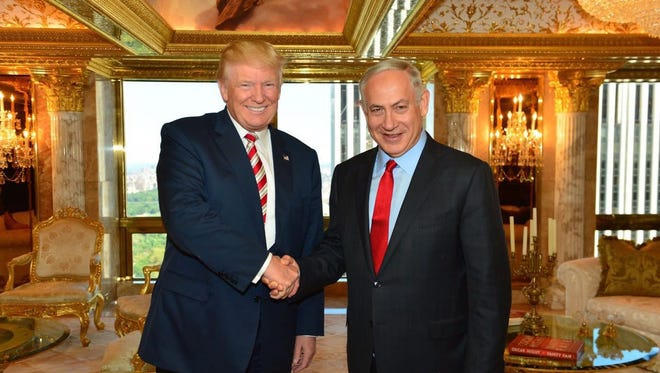 President-elect Donald Trump with Israeli prime minister Benjamin Netanyahu at Trump Tower in New York on Sept. 26, 2016.
