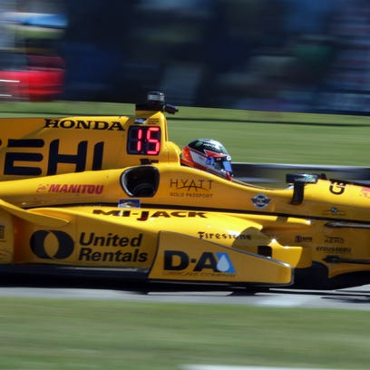 Indy cars practice at Elkhart Lake's Road America