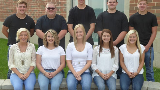 Elgin High School will crown its 2016 homecoming royalty Friday before the football game against Fredericktown High School. This year's homecoming queen candidates are, seated from left, senior class members Kaysi Roshon, Savannah Amerson, Meridith Cocherl, Kori Anderson and Lauren Fetter. The homecoming king candidates are, standing from left, seniors Jed Doss, Ryan Sharp, Syler Dyer, Cade Field and Scott Close. The homecoming queen and king will be announced prior to kickoff of the Mid-Ohio Athletic Conference Blue Division game against the Freddies. The game is scheduled to begin at 7 p.m.