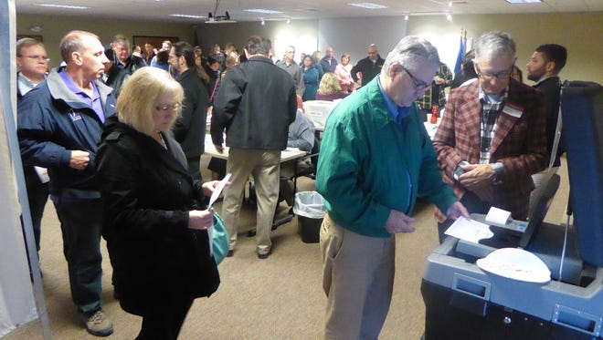 Voters line up to cast their ballots in 2016 in the town of Lisbon. This spring municipal elections are planned for April 3.
