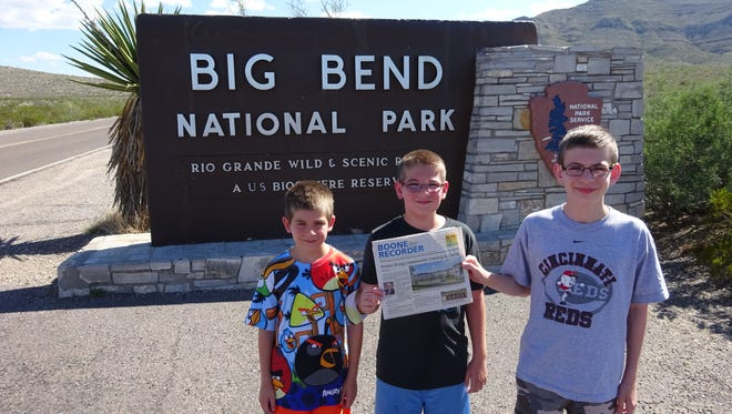 The Eckler family brought along the Boone County Recorder during a visit to Big Bend National Park in southwestern Texas on the Mexico border. They visited the Rio Grande River, Chihuahuan Desert, and Chisos Mountains. It's three parks in one and a U.S. Biosphere Reserve. From left are Aaron, Jacob, and Zachary Eckler.