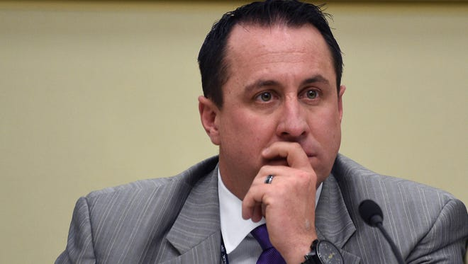 Commissioner Bob Lucey listens during the Washoe County Board of Commissioners meeting in Reno on April 28, 2015.