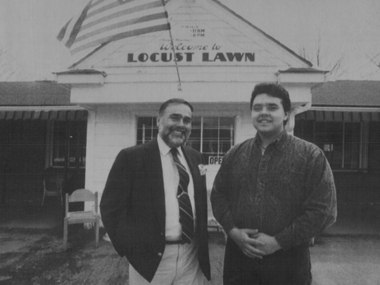 1993: Christopher Kitrinos and son in front of Locust