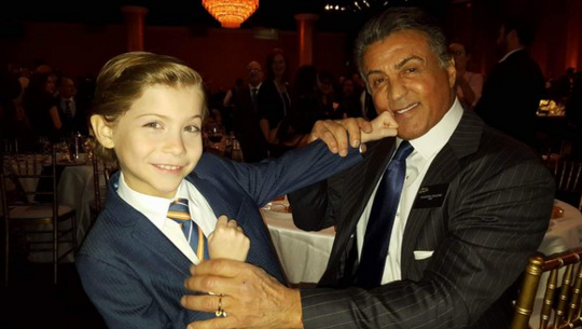 "Stallone takes one on the chin from ""Room"" star JacobTremblay."