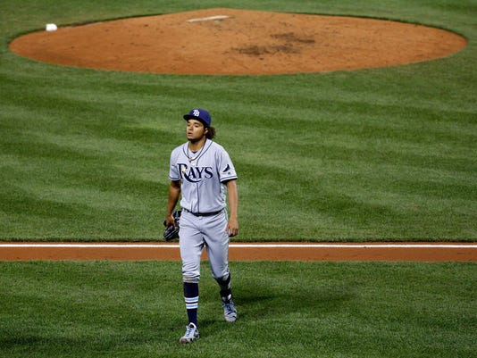 Tampa Bay Rays starting pitcher Chris Archer walks off the field after the fifth inning of a baseball game against the Baltimore Orioles in Baltimore, Friday, April 8, 2016. Baltimore scored four runs in the fifth and won 6-1. (AP Photo/Patrick Semansky)