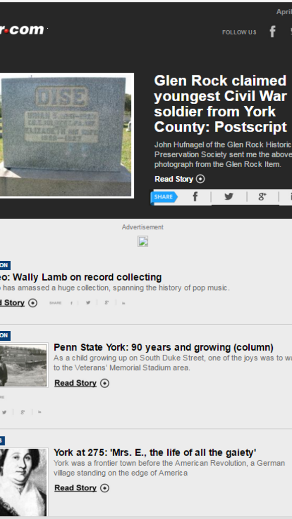 The York Daily Record produces this free, twice-a-week newsletter detailing stories, photos and videos about York County's past. Now and then, stories from the region make it into here, too. Sign up: http://bit.ly/24iKO1d.
