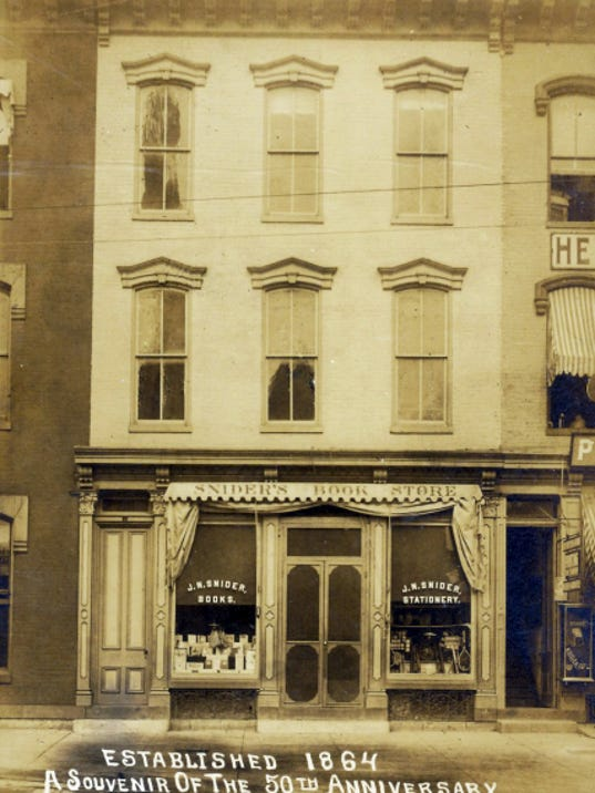"""Pictured is the J.N. Snider Book Store on Chambersburg's """"Diamond"""" as it appeared in 1914."""