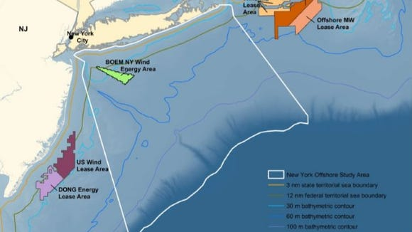 The state Energy Research Development Authority is examining a 16,740-square-foot area off the coast of Long Island and New York City for possible offshore wind turbines.