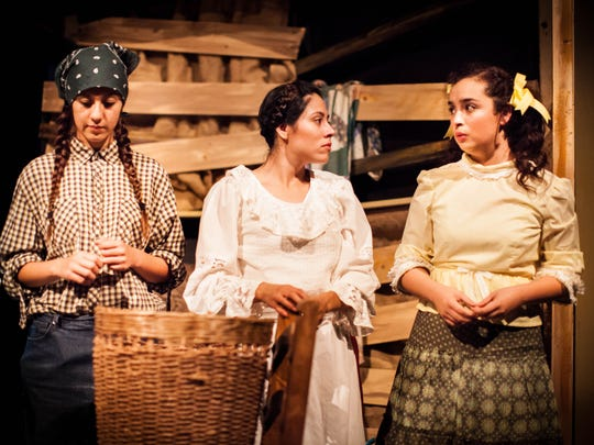 "Esperanza (Rafaela Garcia) learns about potato farming from Potato Worker (Tailina Tapia) and Hortensia (Maria del Pilar Anguiano) in a scene from ""Esperanza Rising."""