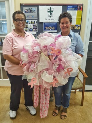 Cheryl Caldwell, president of Friends in Pink and Rhonda Blakey, director of community relations, St. Andrew's Episcopal Academy are ready for a month of wearing pink as a fundraiser for breast care patients in need.