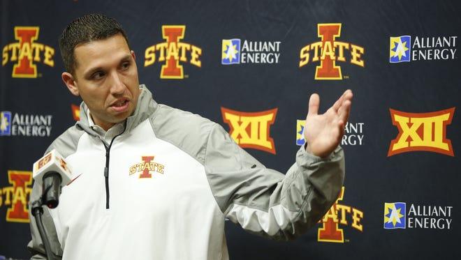 ISU football coach Matt Campbell speaks about the Cyclones' recruiting class Wednesday, Feb. 3, 2016.